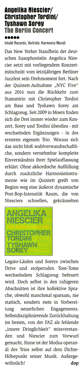 Achim Doppler Concerto Magzine reviews Angelika Niescier