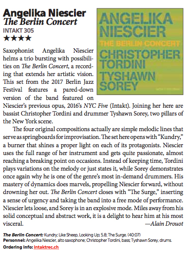 downbeat magazine review angelika niescier berlin concert