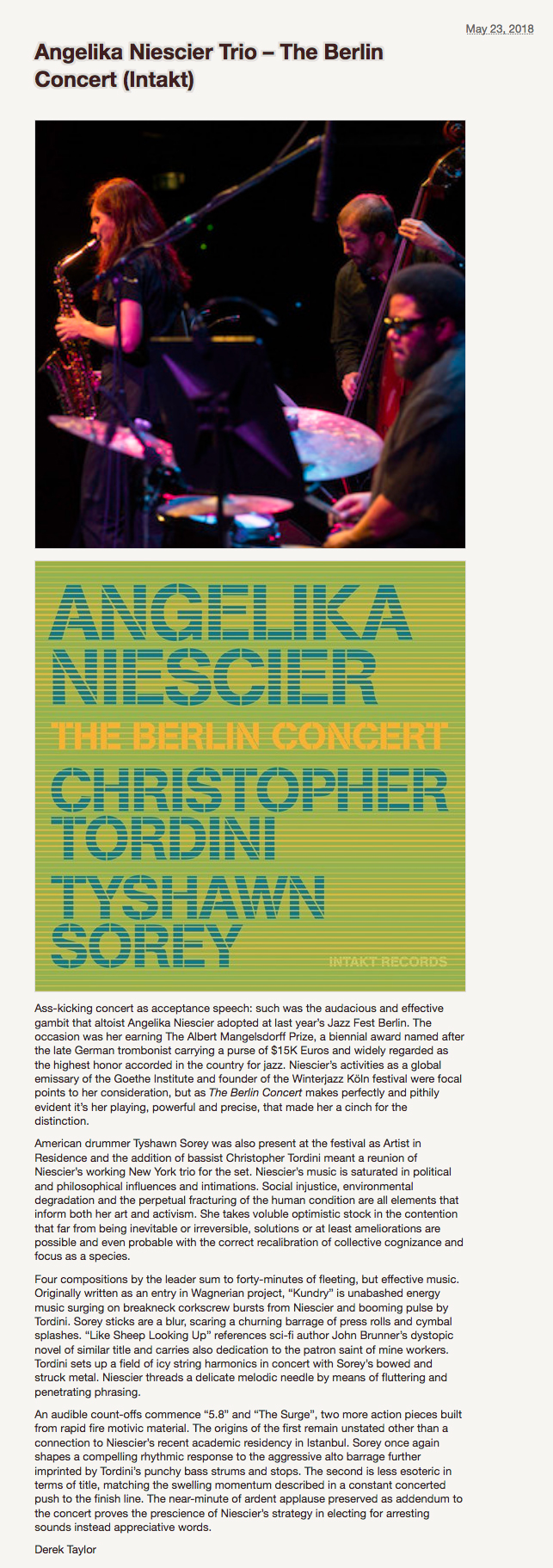 Derek Taylor reviews Angelika Niescier Berlin Concert Dusted Magazine