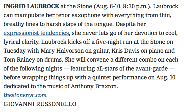 Ingrid Laubrock in The New York Times by