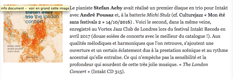 culture jazz fr stefan aeby trio the london concert