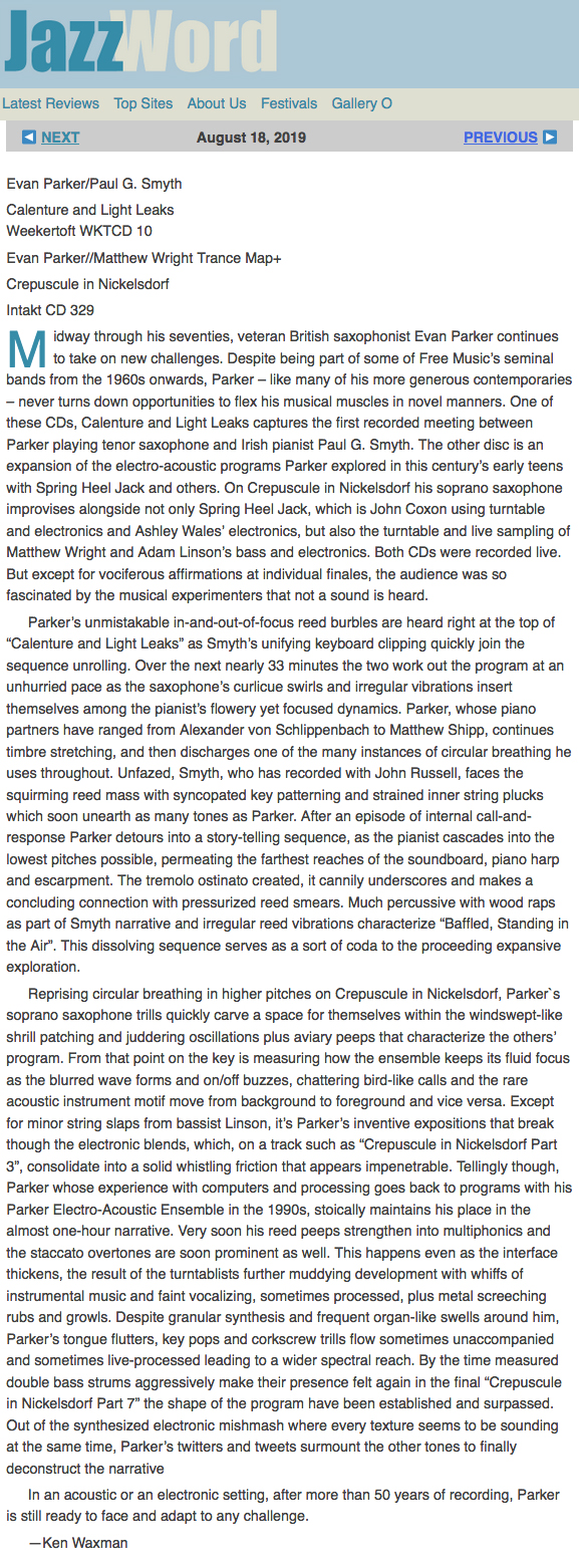 ken waxman reviews evan parker in jazzword